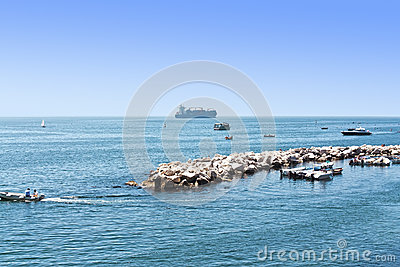 The ships and yachts on the Ionian sea landscape