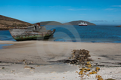 Shipwreck on the beach, Falkland Is;lands