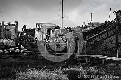 Shipwreck in black and white