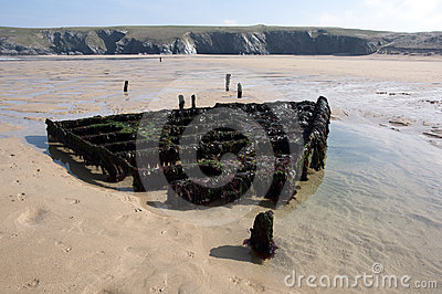 Shipwreck at Holywell Bay