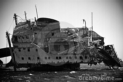 Shipwreck in ocean