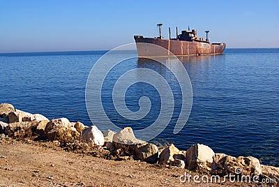 Shipwreck on seashore