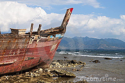 Shipwreck in shoreline