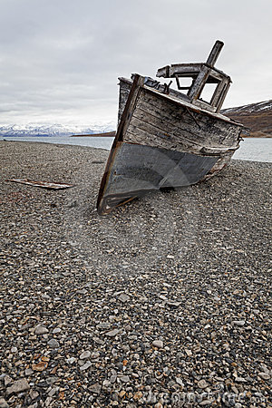 Shipwreck in Skansbukta, Svalbard Islands, Norway