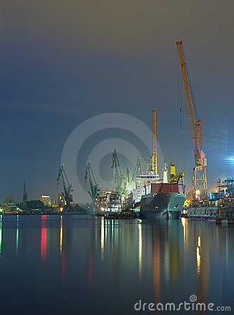 Shipyard of Gdansk at night