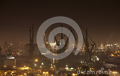 Shipyard in Gdansk at night, Poland Editorial Photography