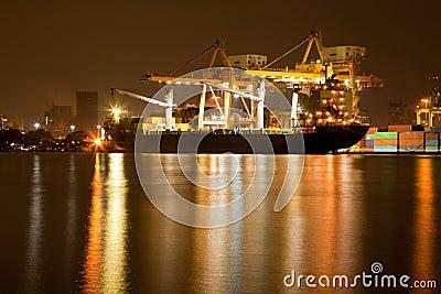 Shipyard Harbor at night