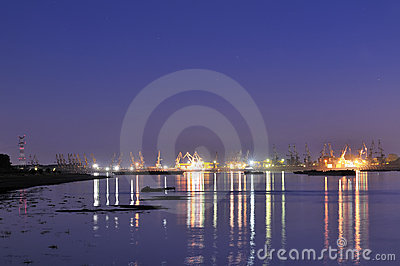 Shipyard in night time