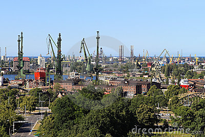 Shipyard and port in Gdansk, Poland
