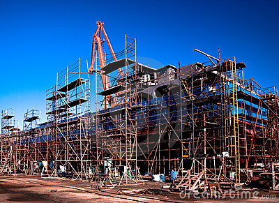 Shipyard - ship in a dry dock
