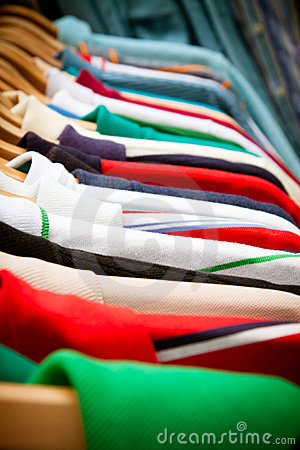 Shirt rack at market Stock Photo