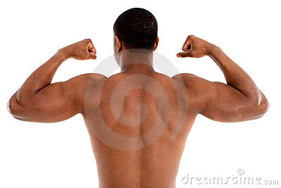 Shirtless Black Male Model on White Background