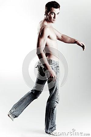 Shirtless causal male model