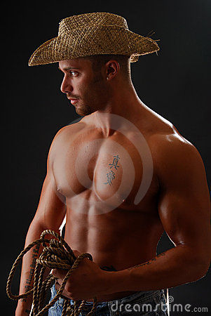 Free Shirtless Cowboy Stock Photos - 3886053