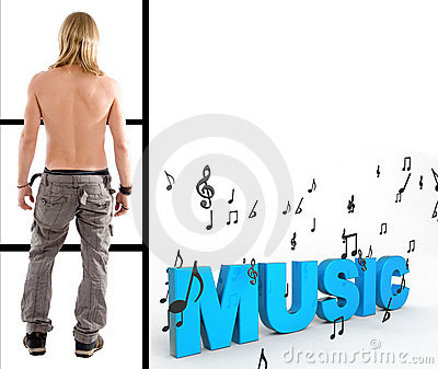Shirtless man with three dimensional  music text