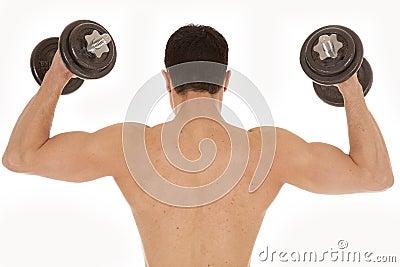 Shirtless man weights up back