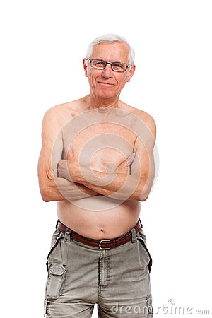 Shirtless senior man portrait