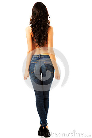 Free Shirtrless Woman Standing In Jeans Back To Camera Royalty Free Stock Photos - 77079558