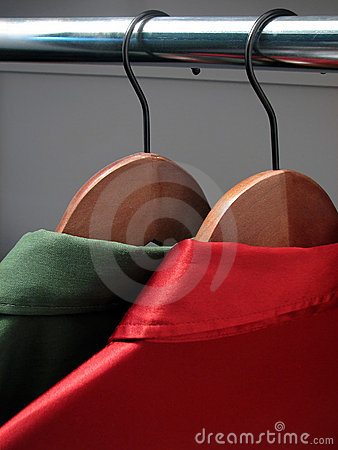 Shirts on hangers: Christmas colors
