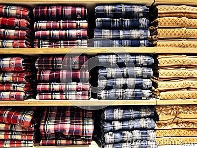 Shirts neatly on the shelf