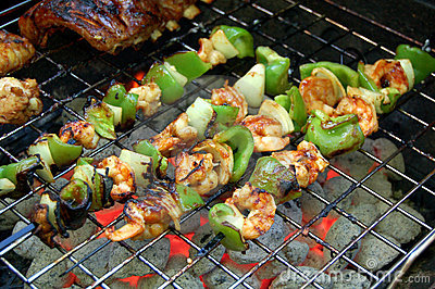 Shish kabob on grill
