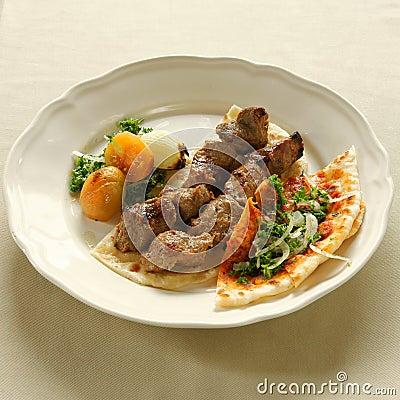 Shish kebab, bbq lamb, lebanese cuisine.