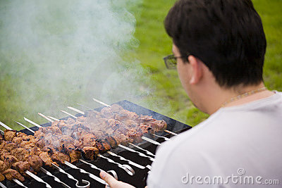 Shish kebab on household picnic