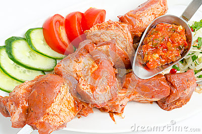 Shish kebab, prepared food