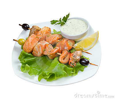 Shish Kebab from  Salmon  with