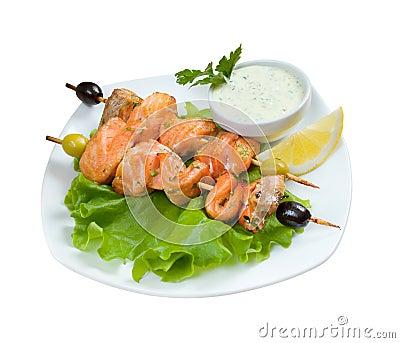 Shish Kebab from  Salmon  with