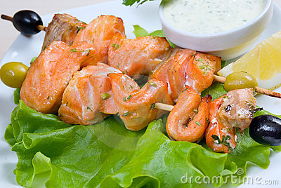 Shish Kebab from  Salmon  .fish roast.close-up