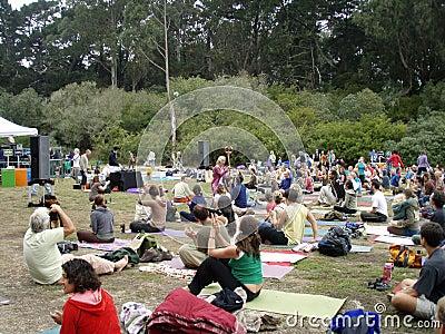 Shiva Rea uses stick to inspire yogis outdoors Editorial Stock Photo