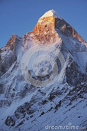 Shivling peak on sunrise