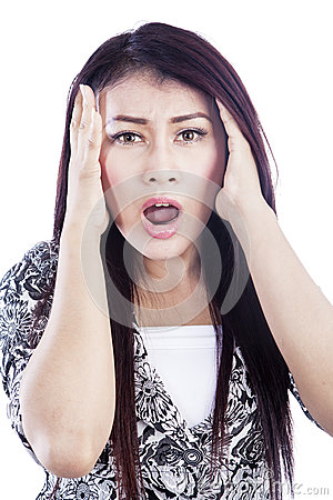 Shock woman isolated over white