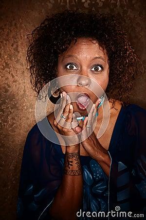 Shocked African-American Woman