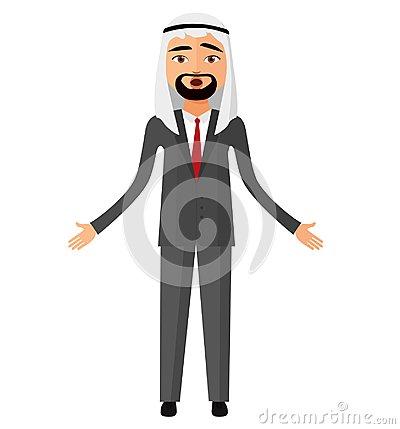 Free Shocked Arab Muslim Flat Cartoon Businessman. Surprised Saudi Ma Royalty Free Stock Photo - 100286145