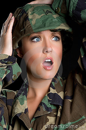Shocked Army Woman
