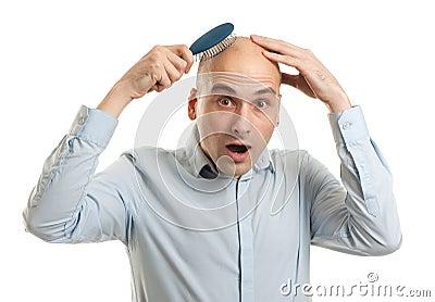 Shocked bald man