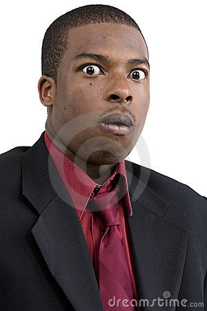 Shocked black businessman