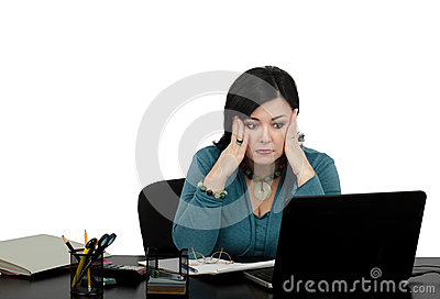 Shocked business lady by internet news