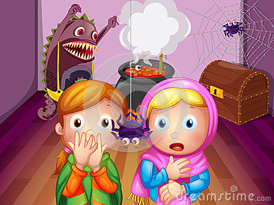 Shocked faces of two girls in front of a spider
