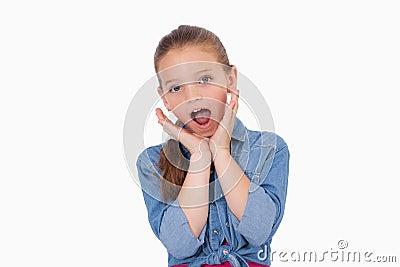 Shocked girl screaming