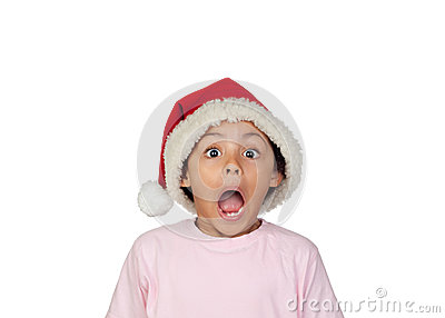 Shocked Girl Wearing Santa Hat