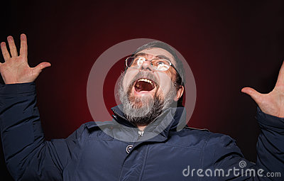 Shocked happy man