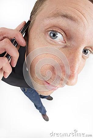 Shocked man on call