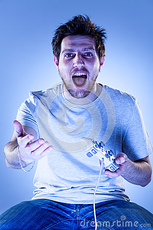 Shocked Man with Gamepad