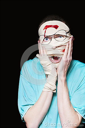 Shocked Patient Nursing A Broken And Bloody Head