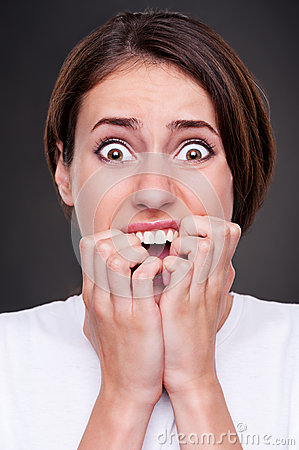 Shocked and screaming woman