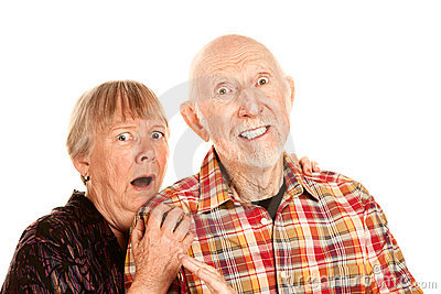 Shocked Senior Couple