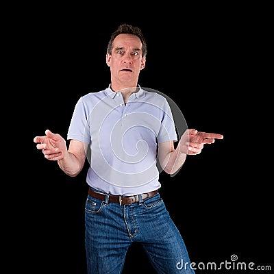 Shocked Surprised Confused Man Hands Raised